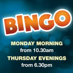 Bingo! Monday mornings from 10:30am & Thursday evenings from 6:30pm!